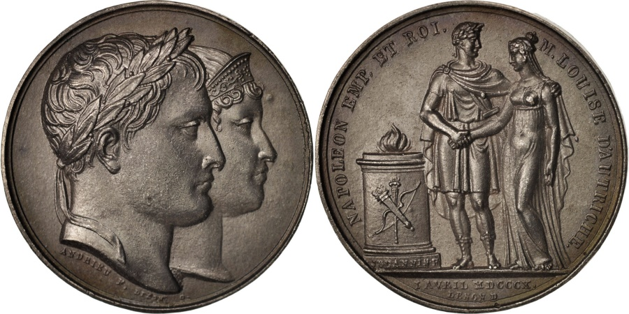 World Coins - France, Medal, Mariage avec Marie-Louise, First French Empire, History, 1810