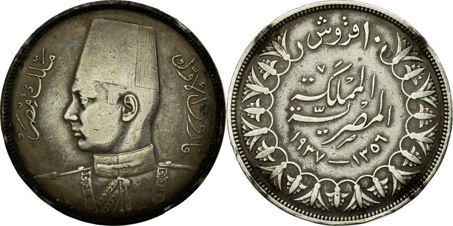 1937 Egypt Silver 10 Piastres Old World Silver Coin