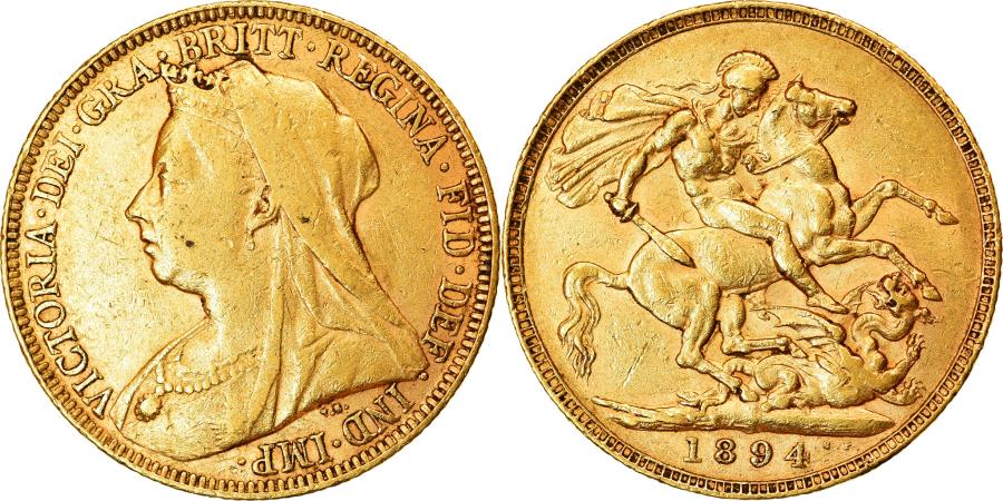 World Coins - Coin, Great Britain, Victoria, Sovereign, 1894, , Gold, KM:785