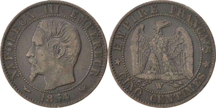 World Coins - FRANCE, Napoléon III, 5 Centimes, 1854, Lille, KM #777.7, , Bronze, 2..