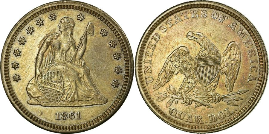 US Coins - Coin, United States, Seated Liberty Quarter, Quarter, 1861,