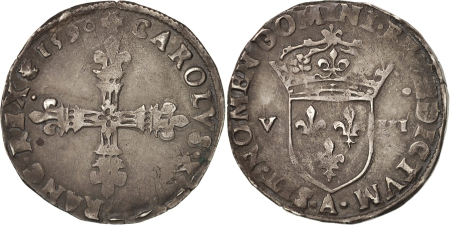 World Coins - France, Charles X, Roi de la Ligue, 1/8 Ecu, 1590, Paris, , Silver