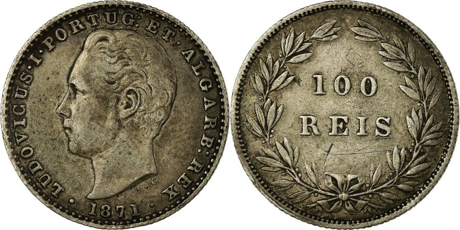 World Coins - Coin, Portugal, Luiz I, 100 Reis, 1871, , Silver, KM:510