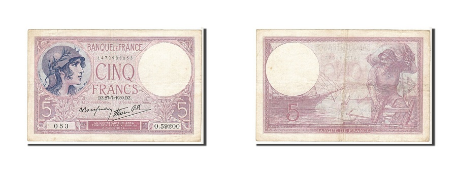 World Coins - France, 5 Francs, 5 F 1917-1940 ''Violet'', 1939, KM #83, EF(40-45), O53059200,.