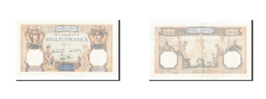 World Coins - FRANCE, 1000 Francs, 1939, KM:90c, 1939-09-21, AU(50-53), C.7692, Fayette:38.37