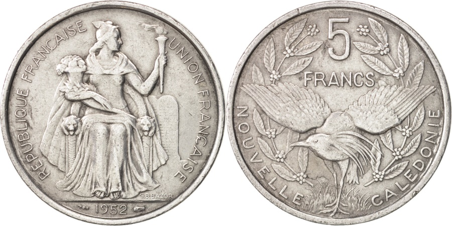 World Coins - New Caledonia, 5 Francs, 1952, Paris, , Aluminum, KM:4