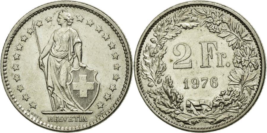 World Coins - Coin, Switzerland, 2 Francs, 1976, AU(55-58), Copper-nickel, KM:21a.1