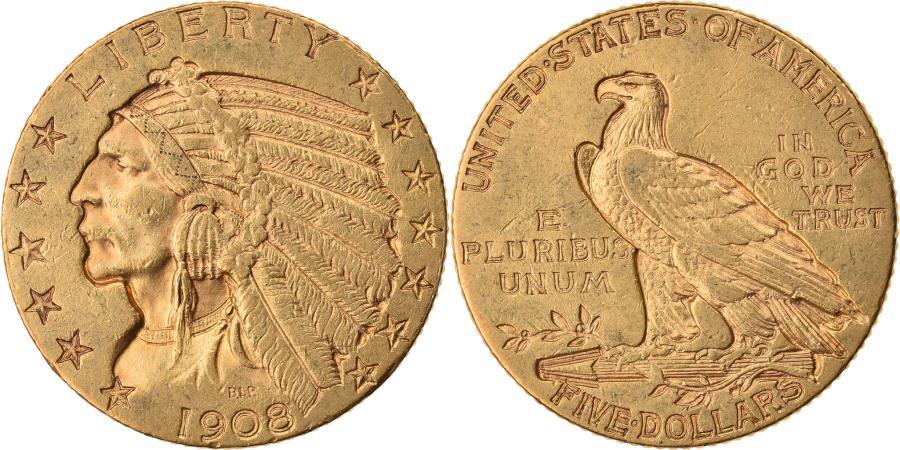 US Coins - Coin, United States, Indian Head, $5, Half Eagle, 1908, Philadelphia,