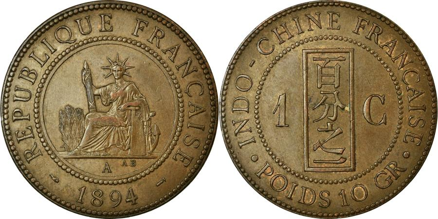World Coins - Coin, French Indochina, Cent, 1894, Paris, MS(60-62), Bronze, Lecompte:45