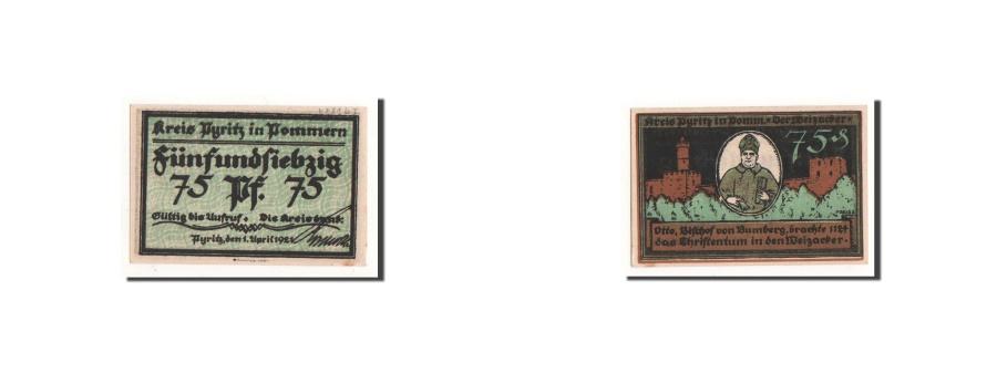 World Coins - Germany, Pyritz, 75 Pfennig, personnage, 1921-04-01, UNC(65-70), Mehl:1082.2