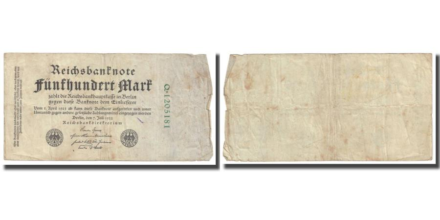 World Coins - Banknote, Germany, 500 Mark, 1922, 1922-04-01, KM:74b, F(12-15)