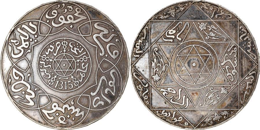 World Coins - Coin, Morocco, 'Abd al-Aziz, 5 Dirhams, 1897, Berlin, , Silver