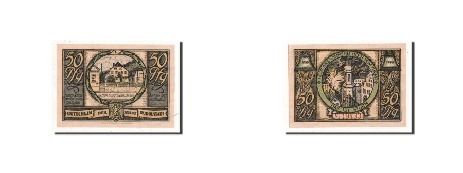 World Coins - Germany, Rudolstadt, 50 Pf, maison en flamme, Undated, UNC(65-70), Mehl:1146.1
