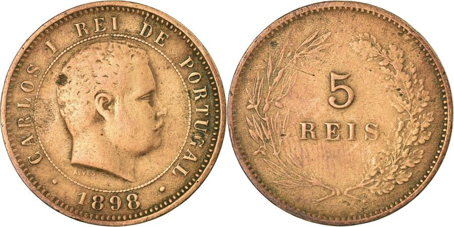 World Coins - Coin, Portugal, Carlos I, 5 Reis, 1898, , Bronze, KM:530