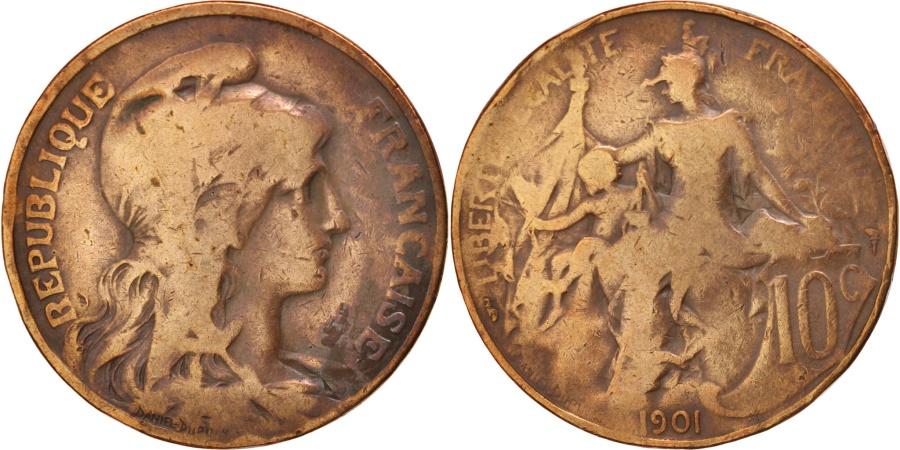 World Coins - France, Dupuis, 10 Centimes, 1901, Paris, , Bronze, KM:843, Gadoury:277