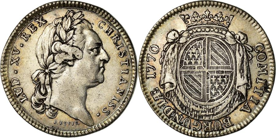 World Coins - France, Token, Louis XV, Etats de Bourgogne, History, 1770, Duvivier,