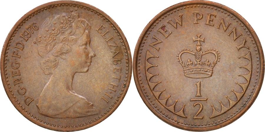 World Coins - Great Britain, Elizabeth II, 1/2 New Penny, 1976, , Bronze, KM:914