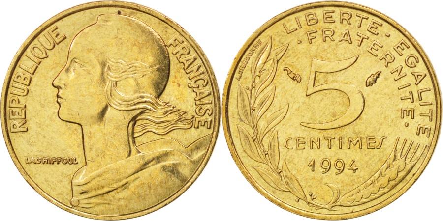 World Coins - France, Marianne, 5 Centimes, 1994, Paris, , Aluminum-Bronze, KM:933
