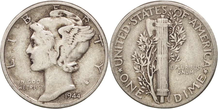 US Coins - United States, Mercury Dime, Dime, 1944, U.S. Mint, Philadelphia,