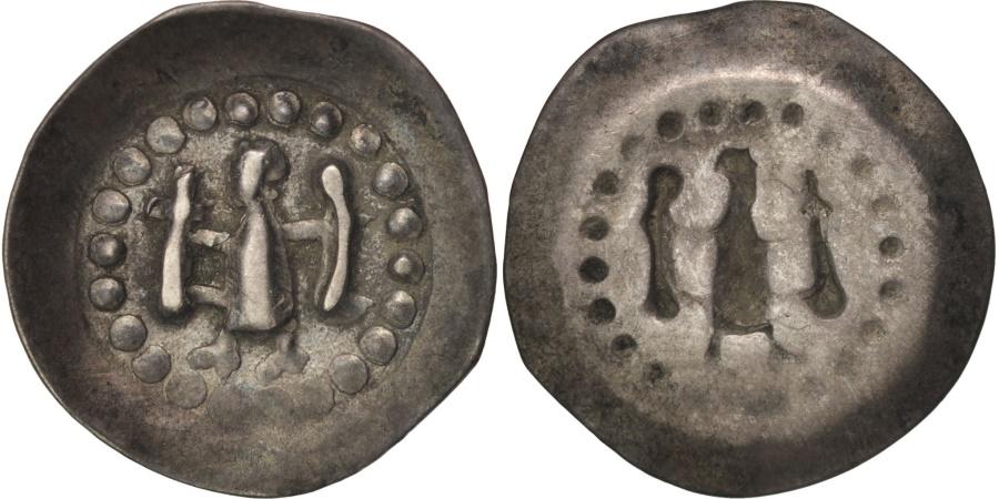 World Coins - Strasbourg, Évêché de Strasbourg, Pfennig à l'ange crucigère, , Silver
