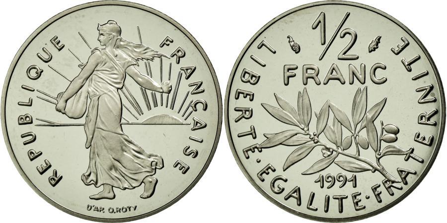 World Coins - Coin, France, Semeuse, 1/2 Franc, 1991, Paris, MS(65-70), Nickel, Gadoury:429a