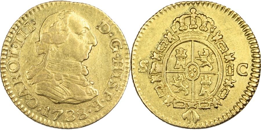 World Coins - SPAIN, 1/2 Escudo, 1788, Seville, KM #425.2, , Gold, 1.75