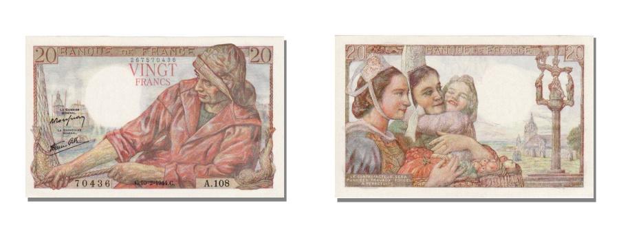 World Coins - France, 20 Francs, 20 F 1942-1950 ''Pêcheur'', 1944, KM #100a, 1944-02-10, U...