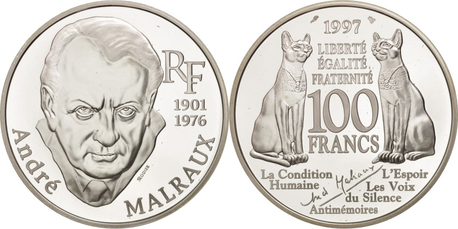 World Coins - France, André Malraux, 100 Francs, 1997, Proof, , Silver, KM:1952