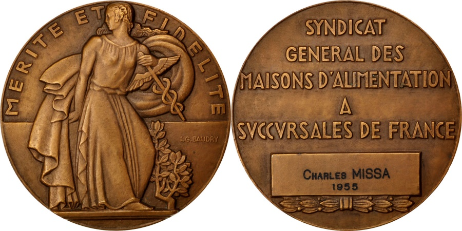 World Coins - FRANCE, Politics, Society, War, French Fourth Republic, Medal, 1955, ,.