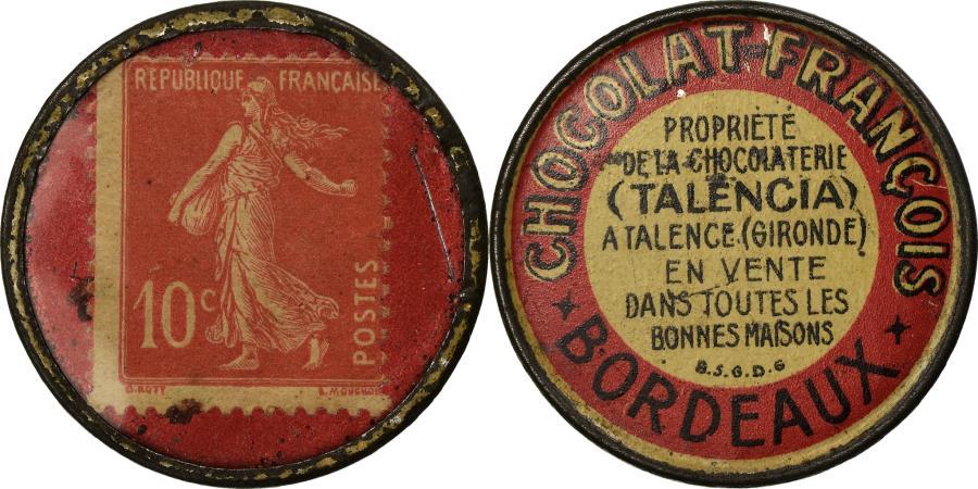 World Coins - Coin, France, Chocolat François, Bordeaux, 10 Centimes, Timbre-Monnaie