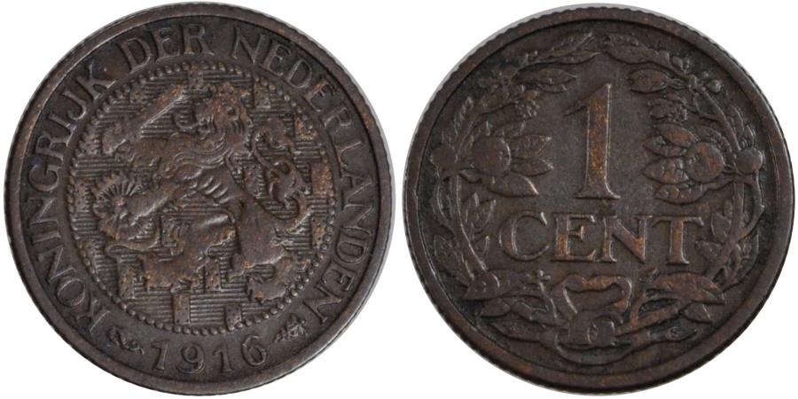 World Coins - NETHERLANDS, Cent, 1916, KM #152, , Bronze, 19, 2.44