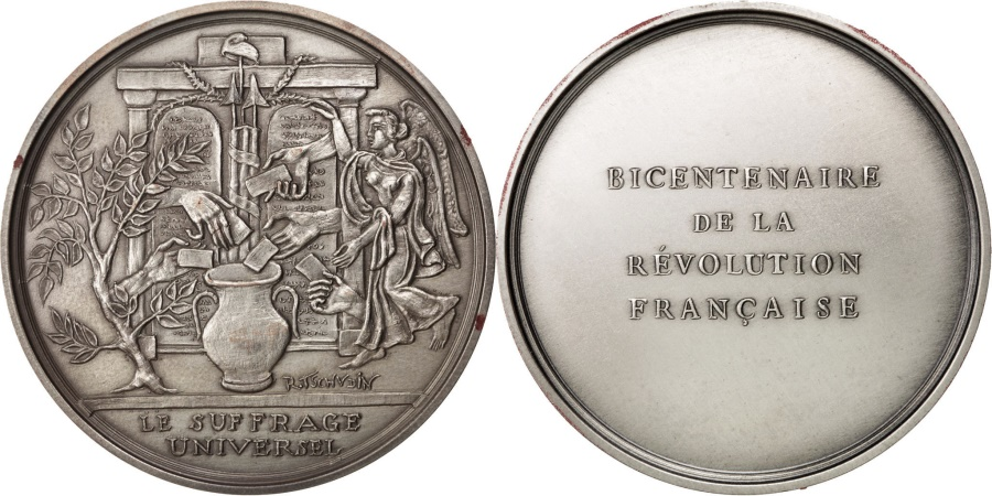 World Coins - FRANCE, History, French Fifth Republic, Medal, 1988, , Tschydin,...