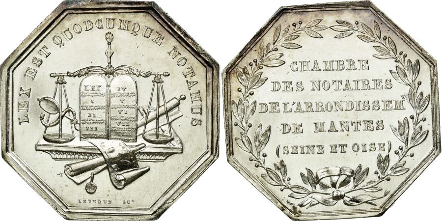 World Coins - France, Token, Notary, MS(60-62), Silver, Lerouge:182