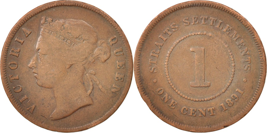 World Coins - Straits Settlements, Victoria, Cent, 1891, Heaton, , Bronze, KM:16