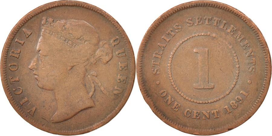 World Coins - Straits Settlements, Victoria, Cent, 1891, Heaton, , Bronze, KM:16
