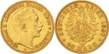 German States, PRUSSIA, Wilhelm II, 20 Mark, 1889, Berlin, EF(40-45), Gold