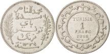 World Coins - Tunisia, Muhammad al-Nasir Bey, Franc, 1916, Paris, AU(50-53), Silver, KM:238