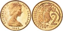 World Coins - New Zealand, Elizabeth II, 2 Cents, 1982, PROOF, AU(55-58), Bronze, KM:32.1