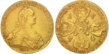 World Coins - Russia, Catherine II, 10 Roubles, 1774, St. Petersburg, Gold, KM:79a