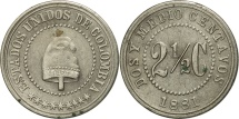 World Coins - Colombia, 2-1/2 Centavos, 1881, Scoville Mfg. Co., Waterbury, EF(40-45), KM 179