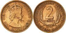World Coins - East Caribbean States, Elizabeth II, 2 Cents, 1965, EF(40-45), Bronze, KM:3