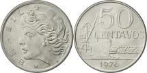 World Coins - Brazil, 50 Centavos, 1976, MS(60-62), Stainless Steel, KM:580b
