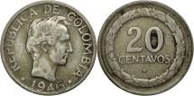 World Coins - Colombia, 20 Centavos, 1946, Bogota, EF(40-45), Silver, KM:208.1