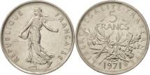 France, Semeuse, 5 Francs, 1971, Paris, AU(50-53, Copper-Nickel, KM 771