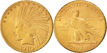 Us Coins - United States, Indian Head, $10, Eagle, 1910, Denver, AU(55-58),Gold,KM 130
