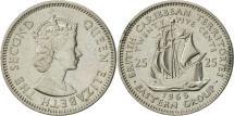 World Coins - East Caribbean States, Elizabeth II, 25 Cents, 1965, AU(55-58), Copper-nickel