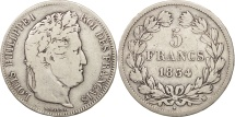 France, Louis-Philippe, 5 Francs, 1834, Marseille, VF(20-25), Silver, KM:749.10