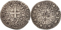 World Coins - France, Aquitaine, Edouard II, Maille Blanche, EF(40-45), Silver, Boudeau:486