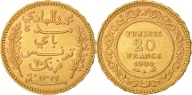 Tunisia, Muhammad al-Hadi Bey, 20 Francs, 1904, Paris, Gold, KM:234