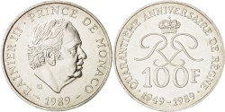 World Coins - MONACO, 100 Francs, 1989, KM #164, , Silver, Gadoury #MC164